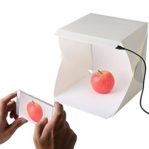 Portable Mini studio photo avec réglette LED   pliable Photo Boîte à lumière de prise de vue Photographie Tente avec fond noir/blanc