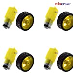 Robocraze Duel Shaft BO Motor with Wheel, 4 Pieces R-A-626