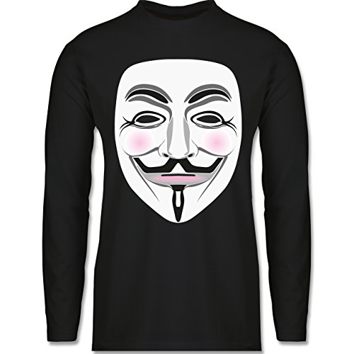 Shirtracer Nerds & Geeks - Anonymous Maske Hacker - Herren Langarmshirt Schwarz