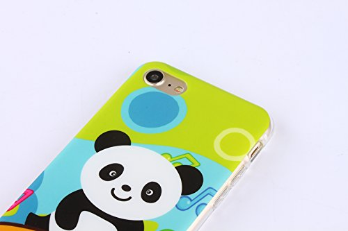 Etsue Doux Protecteur Coque pour iPhone 7,TPU Matériau Frame est Transparent Soft Cover pour iPhone 7,Coloré Motif par Dessin de Mode Case Coque pour iPhone 7 + 1 x Bleu stylet + 1 x Bling poussière p Panda Cartoon
