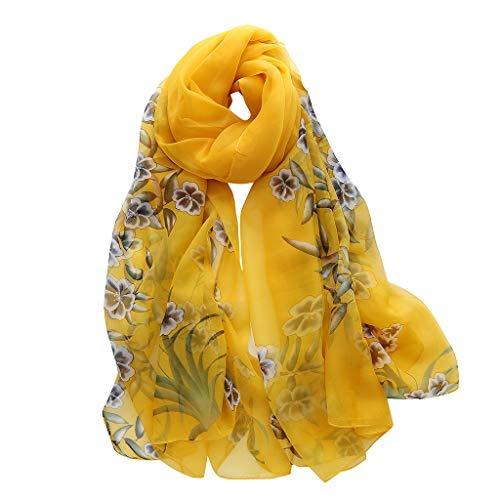 QIMANZIMode Frau Blume Lang weich WickelnSchalSimulationDie Seide SchalSchals(A Yellow,180x140cm) -