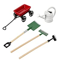SNOWINSPRING DIY Watering Can Pulling Cart Spade Rake Garden Tools For Children Dolls House Miniatures Accessories Set