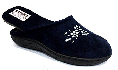DAVEMA pantofole ciabatte invernali da donna art. 5033 BLU con plantare estraibile (40)