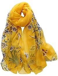 Mode Femme Écharpe Fleur Imprimé,Longue Châle en soie Souple Wrap Foulards  Bringbring 1513013a392