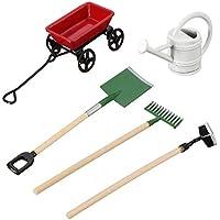REFURBISHHOUSE Regadera de Bricolaje Puede Tirar del Carro Rastrillo de la Espada Herramientas de Jardin para ninos Casa de munecas Conjunto de Accesorios de miniaturas