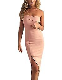 Vestiti Donna Elegante Estivi Cerimonia Moda Vestito Senza Spalline Senza  Schienale Solido Spacco Partito Slim Fit c2a70736ae2