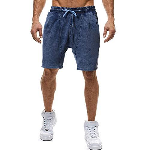 mxjeeio Herren Jeans-Shorts Lose Shorts für Herren Herren Summer Fashion Plissee Cropped Denim Shorts Herren Stretch Verstellbarem Tunnelzug & Taschen -