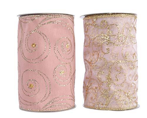 Kaemingk - nastro in poliestrere rosa antico 13 cm. pezzo singolo - kaemingk-442496