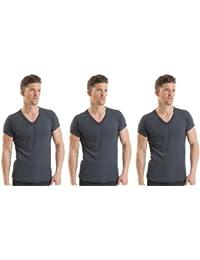 2COZEE® 3 Pack Mens/Gentlemens Thermal Underwear V Neck Short Sleeve Vest Interlock 8 X 1 Various Colours & Sizes