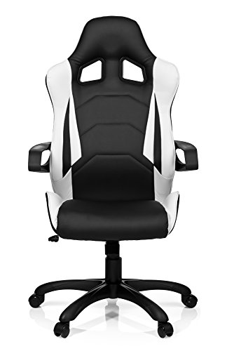 hjh OFFICE 621836 Gaming PC Stuhl RACER PRO I Kunstleder schwarz weiß, feste Polsterung, ideal zum Zocken, Chefsessel, feste Armlehnen, Bürostuhl Sessel, Racer 120Kg, XXL Chefsessel, Gamer Stuhl (Office-gaming-chair)