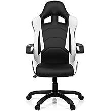 hjh OFFICE 621836 RACER PRO I - Silla gaming, piel sintética, color negro / blanco