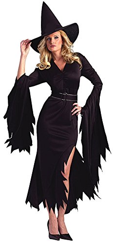 Disfraz Bruja LaLaAreal Disfraces Mujer de Halloween y Carnaval con Sombrero ( Negro )