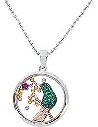 c10652cff72eda Osa gioielli collana con ciondolo a forma di colibrì in argento rodiato 925,  vetro temperato