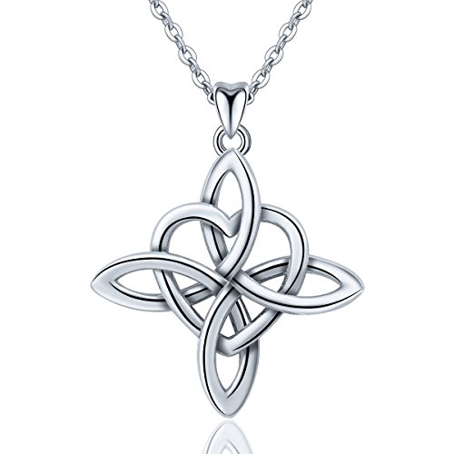 INFUSEU 925 Sterling Silber Frauen Halskette, Irish Infinity unendliche Liebe Celtic Knot Anhänger mit Kette 18