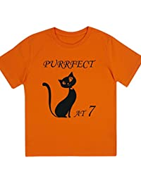 """Girls """"Purrfect at 7"""" Birthday T Shirt Gift with Cat Design"""