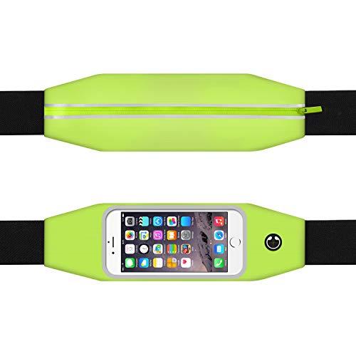TURATA Hüfttasche Unisex Wasserdichte Gürteltasche Bauchtasche Laufgürtel mit Kopfhöreranschluss und Reflexstreifen Sporttasche für Smartphone Handy Fitness Jogging Outdoor-Aktivitäten (Grün)