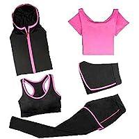 Blancho Bedding Traje Yoga, 5 Pieza Activewear de Mujer, Ropa de Deporte, Fitness Conjunto de Entrenamiento XL