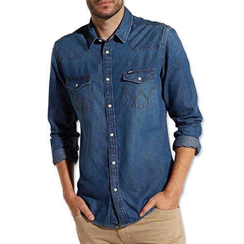 Wrangler | Western Shirt | Western Hemd | Freizeithemd | Herrenhemd | Western Denim Shirt (L, Darkstone) -