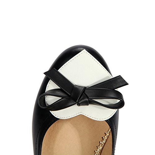 AgooLar Femme Pu Cuir à Talon Correct Rond Couleurs Mélangées Tire Chaussures Légeres Noir