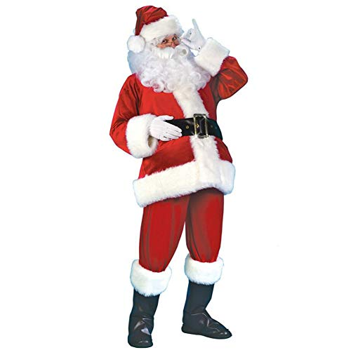JXJ Erwachsene Santa Claus Kostüm Weihnachten Plush Santa Claus Deluxe Set Cosplay Kostüm Fancy Kleider Vater Christmas-6 Stück Set