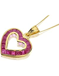 F.Hinds 9ct Yellow Gold Open Heart Ruby Necklace Chain Pendant Jewelry Women New