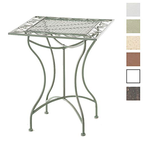 CLP Eisentisch ASINA im Jugendstil I Robuster Gartentisch mit kunstvollen Verzierungen Antik Grün