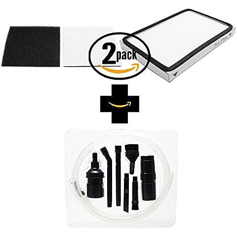 2-pack Kenmore 11627514702–Filtro HEPA e schiuma con 7Micro–Kit di fissaggio, compatibile 86889, Kenmore EF-1Filtro & 86883, CF-1