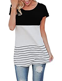 ZUMUii Butterme Las Mujeres de Moda de Manga Corta Suelta Top Casual Rayas Camiseta Blusas de