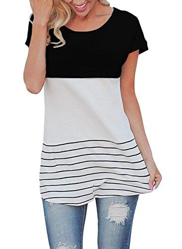 ZUMUii Butterme Las Mujeres de Moda de Manga Corta Suelta Top Casual Rayas Camiseta Blusas de Las Mujeres(Negro,XL)