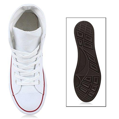 Trendy Damen Sneakers | Sportliche Sneaker High | Stoffschuhe Camouflage | Animal Print Muster Sportschuhe Weiss Rot