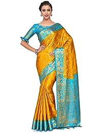 e6a5be4ae89d5b Mimosa Art silk Wedding saree Kanjivarm Pattu style With Contrast Blouse  Color  Gold (4302