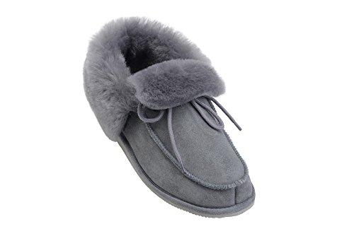 Mokassin Damen Herren Lammfell Hausschuhe echtleder Gefuttert Wolle Pantoffeln Schlappen Schuhe Grau