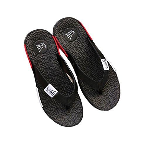 LBY Herren Flip Flops Strand Sandale zum Männlich Draussen Freizeit Design Gemütlich Wasserdicht Rutschfest Hausschuhe, Schwarz, UK 6/EU 38.5