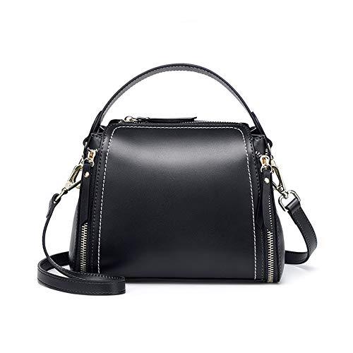 Modische Damen Handtasche, große Kapazität, Eimertasche, lässige Schultertasche, Messenger Bag, geeignet für Arbeit und Einkaufen, Schwarz -