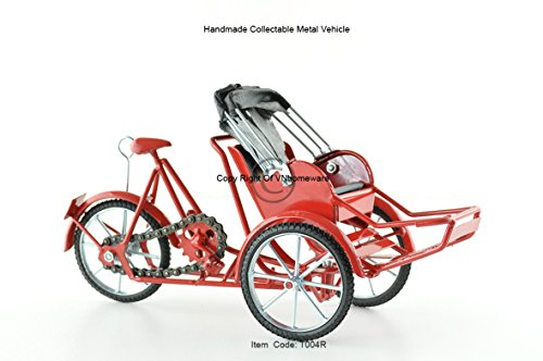 Xich-lo modelo, a mano de 3 ruedas de la bicicleta carrito tirado, color rojo, T004R