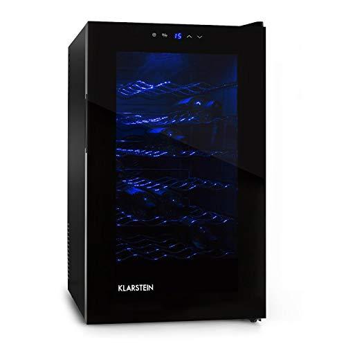 Klarstein MKS-2 - Weinkühlschrank, Getränkekühlschrank, 28 Flaschen, 6 Regaleinschübe, 70 Liter, Touchpad, 8-18° C Temperaturbereich, LED, Panorama-Tür, leise, Nennleistung 65W, schwarz