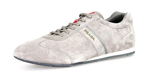 Prada Herren 4e2778O53F0276Leder Turnschuhe/Sneaker, grau - Acciaio - Größe: 43,5 EU (Männer Prada Schuhe)