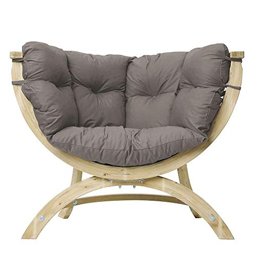 AMAZONAS Lounge Sessel Siena UNO Taupe aus FSC Fichtenholz ca. 120 x 95 x 60 cm bis 150 kg in Hellgrau