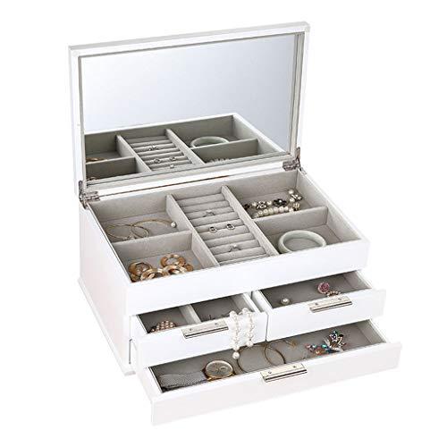 LIYANSBH - Uhrenbox Holz Schmuck Organizer Box mit 3 Schubladen Tragbare Schmuck Aufbewahrungskoffer for Frauen Mädchen Ohrring Halskette Halter Reise Fall (Halter Halskette Schmuck Box Mit)