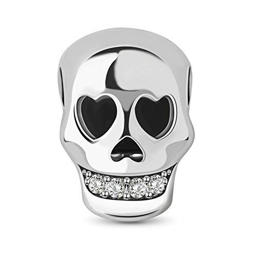 Tinysand-925-Sterlingsilber-Totenkopf-Anhänger mit Herz-Auge und CZ-Zähnen, passend für europäische Armbänder (Schmuck-box Schädel)
