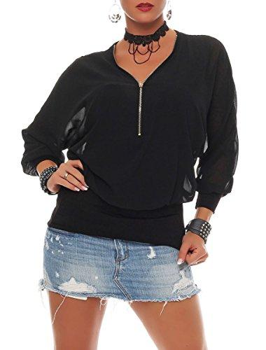 malito Camicetta con Cerniera Zipper Tunica Top Longsleeve Oversize 6297 Donna Taglia Unica nero