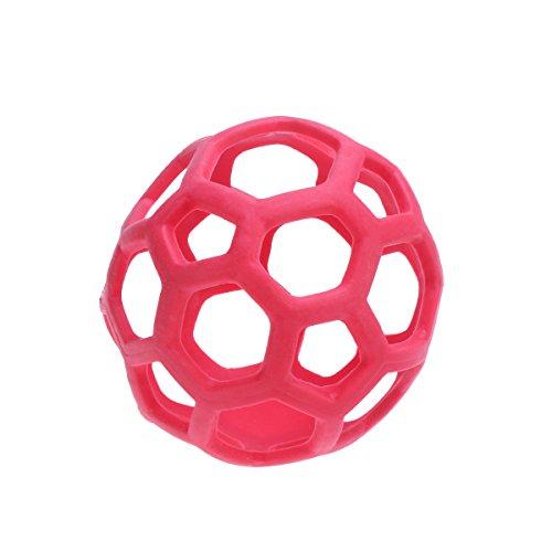 UKCOCO Hunde Spielzeug Bälle, Hohl Behandlung Bälle, Ungiftig Weichen Gummi Bälle für Haustiere Kauspielzeug und Zahnreinigung (Rot)