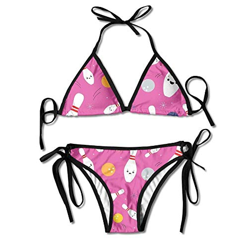 Osmykqe Womens Sexy Bikini Sets Bathing Swimsuits Tie Back Happy Bowling Party Flower Print Black