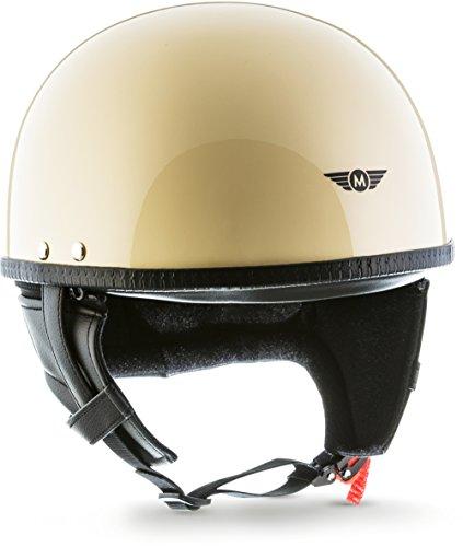 """Moto Helmets® D22 """"Creme"""" · Brain-Cap · Halbschale Jet-Helm Motorrad-Helm Roller-Helm Retro · Fiberglas Schnellverschluss SlimShell Tasche L (59-60cm)"""