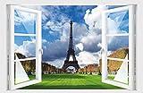 Stickerkoenig Wandtattoo Fenster 3D Optik Wandsticker Aufkleber Deko Bild Motiv Eiffelturm Wiese