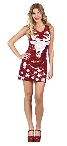 Zauberclown - Damen Mini Pailletten-Kleid mit Rentier Print , Rot, One (Mann Verkleiden Kostüm Lebkuchen)