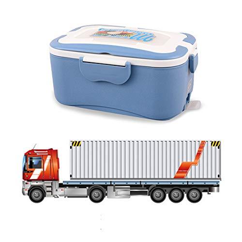 Calentador portátil para el almuerzo, Calentador eléctrico para alimentos, Fiambrera con aislamiento, multifuncional, con contenedor extraíble de acero inoxidable Material de grado alimenticio, Camión azul de 24 V