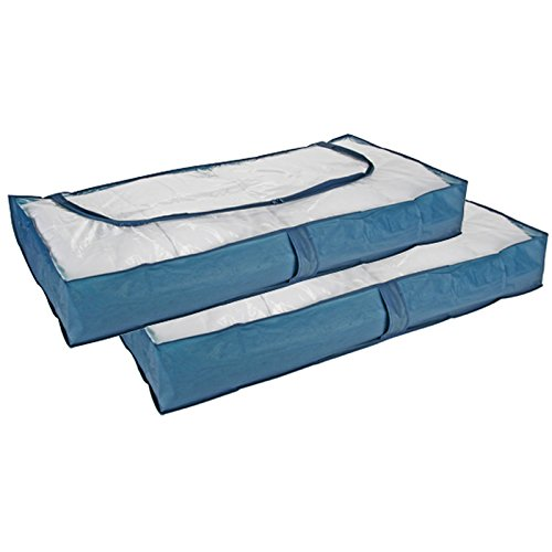 Aufbewahrungstaschen für Bettdecke von JEMIDI Unterbettkommode Unterbett Tasche Aufbewahrung Kasten Bettkasten Kommode Kleideraufbewahrung Unterbettboxen ca. 103 x 45 x 16 cm Blau (2 Stück) (Bettdecken Bett-tasche)