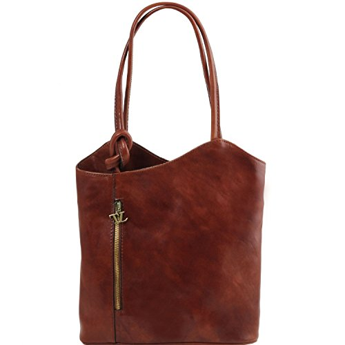 Tuscany Leather Patty - Borsa donna in pelle convertibile a zaino - TL141497 (Testa di Moro) Marrone