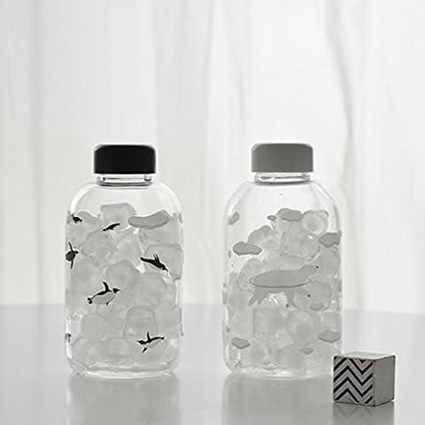 Polar Welt Niedlich Tragbares Glas,Einsamer Pinguin (Leinenbeutel schicken)